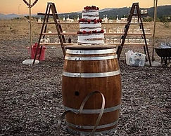 Kelli's Party Rentals, Wine barrel cake table