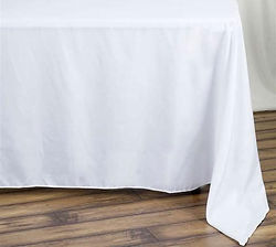 Kelli's Party Rentals, 90x132 whit tablecloths