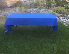 Kelli's Party Rentals, blue tablecloths
