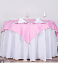 pink polyester table overlay.JPG