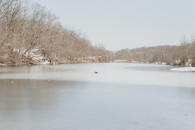 Lake with ice in the winter at Garret Mountain Reservation