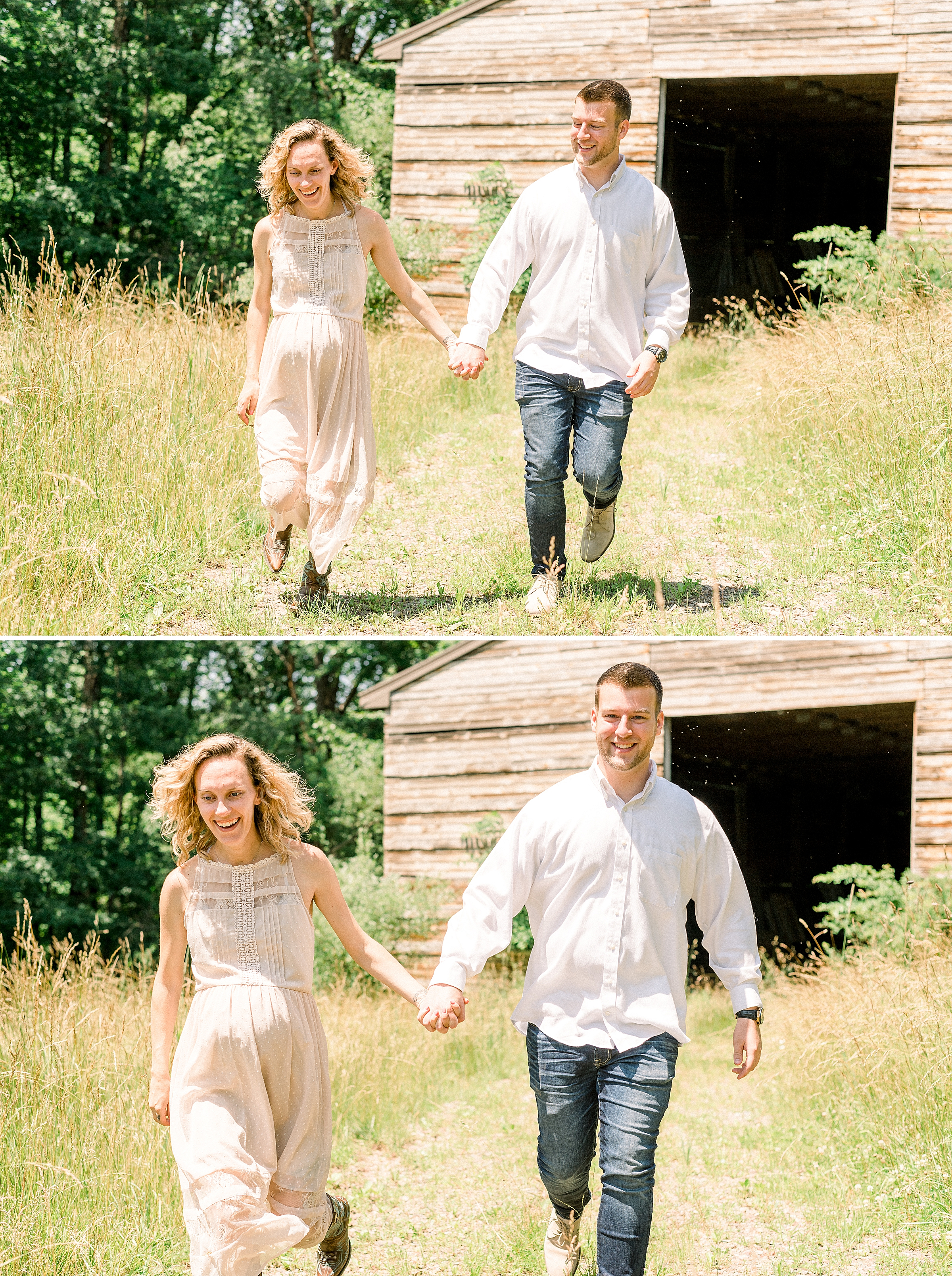 Couple running and laughing on a New Jersey farm