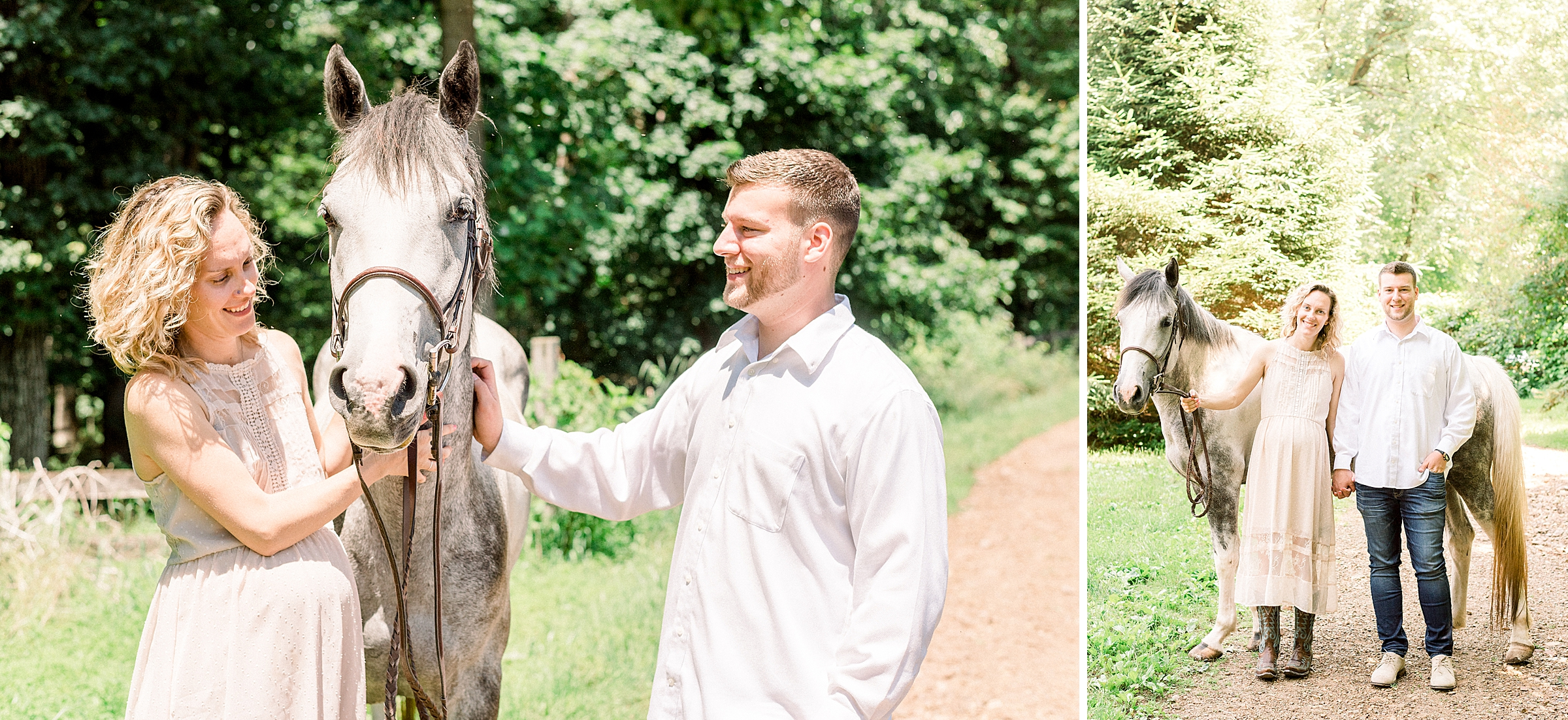 Happy couple with their horse at the Phoenix Rising Farm