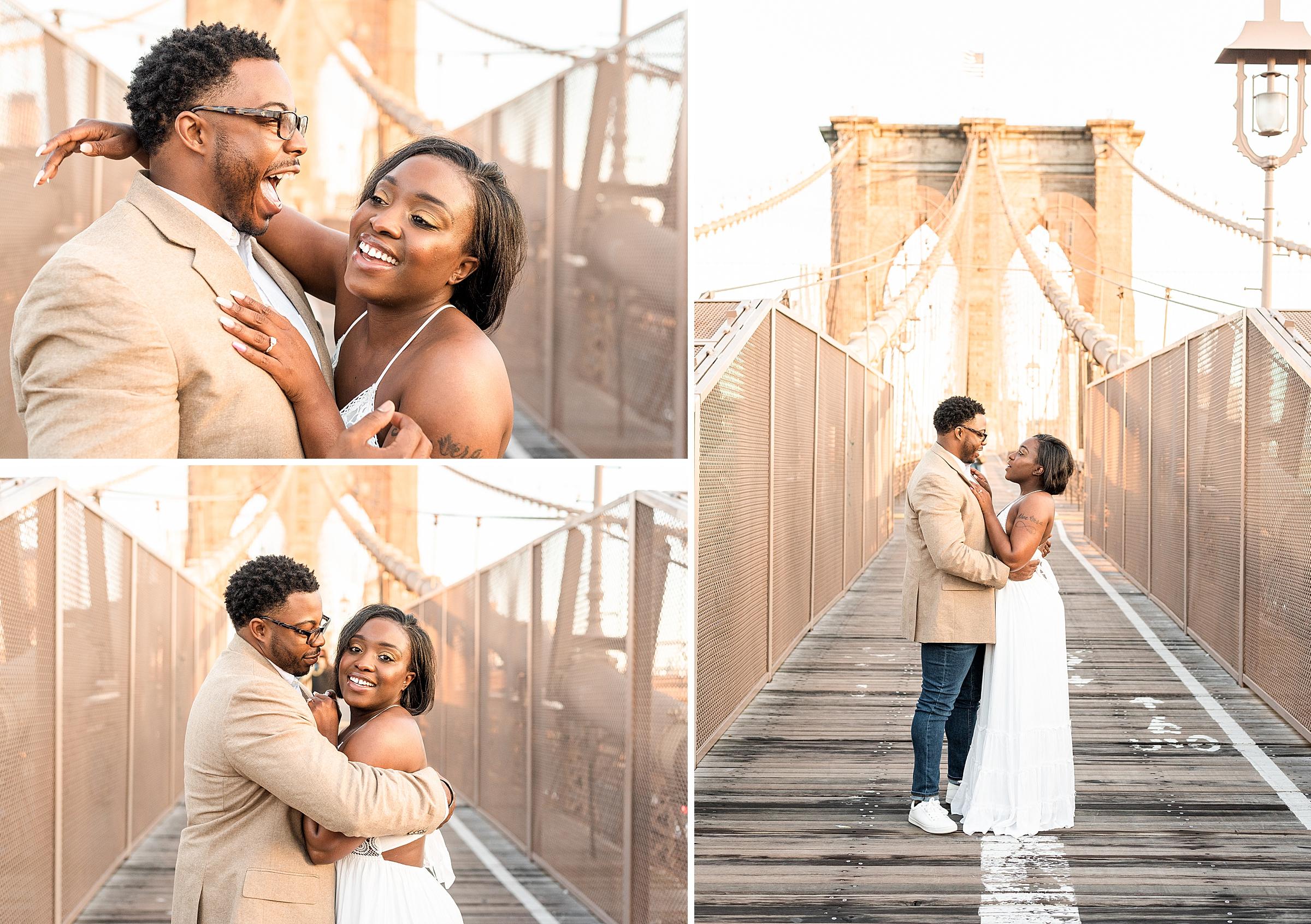 Just engaged happy couple on the Brooklyn Bridge during sunrise