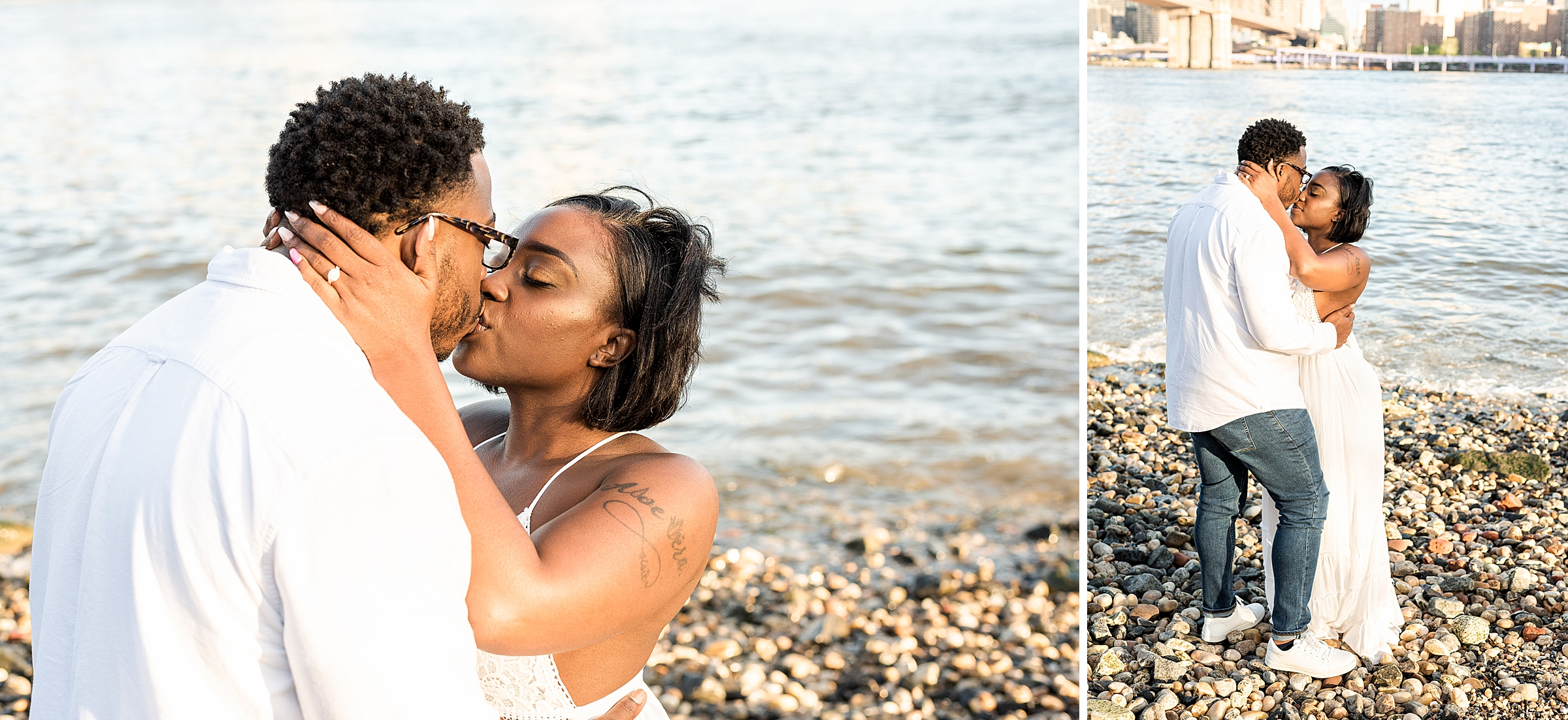 Couple kissing at Pebble Beach in DUMBO Brooklyn
