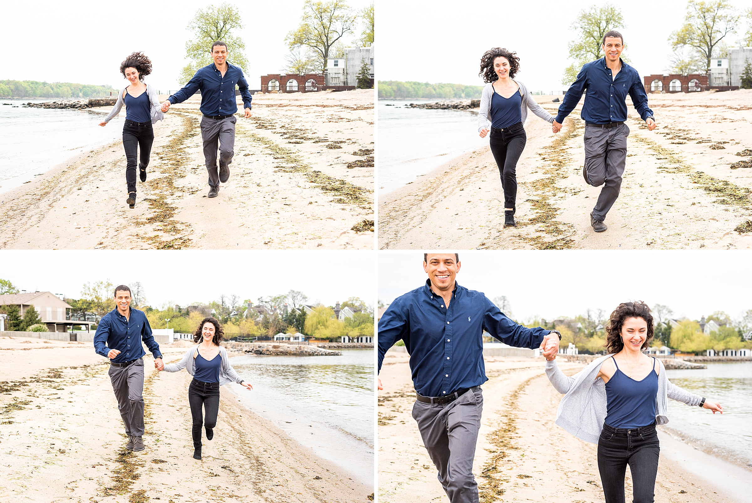 Couple holding hands and running towards the camera on the beach in New York