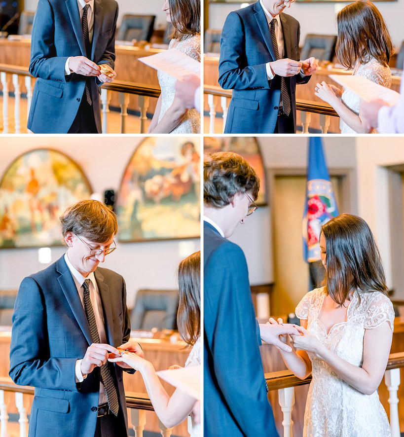 Couple exchanging rings in a courthouse wedding ceremony in Cranford New Jersey