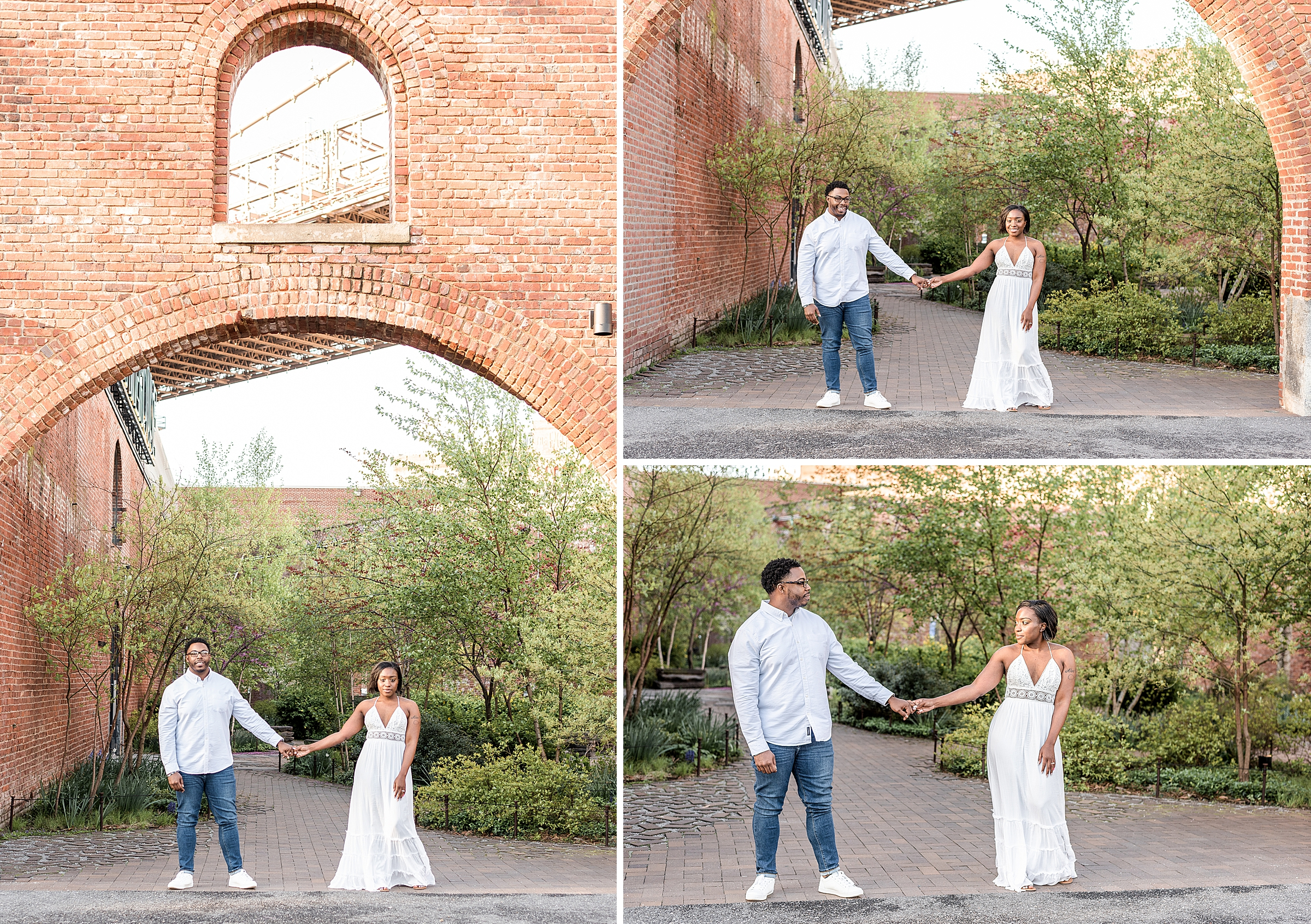 Couple holding hands during a proposal shoot in DUMBO Brooklyn NYC