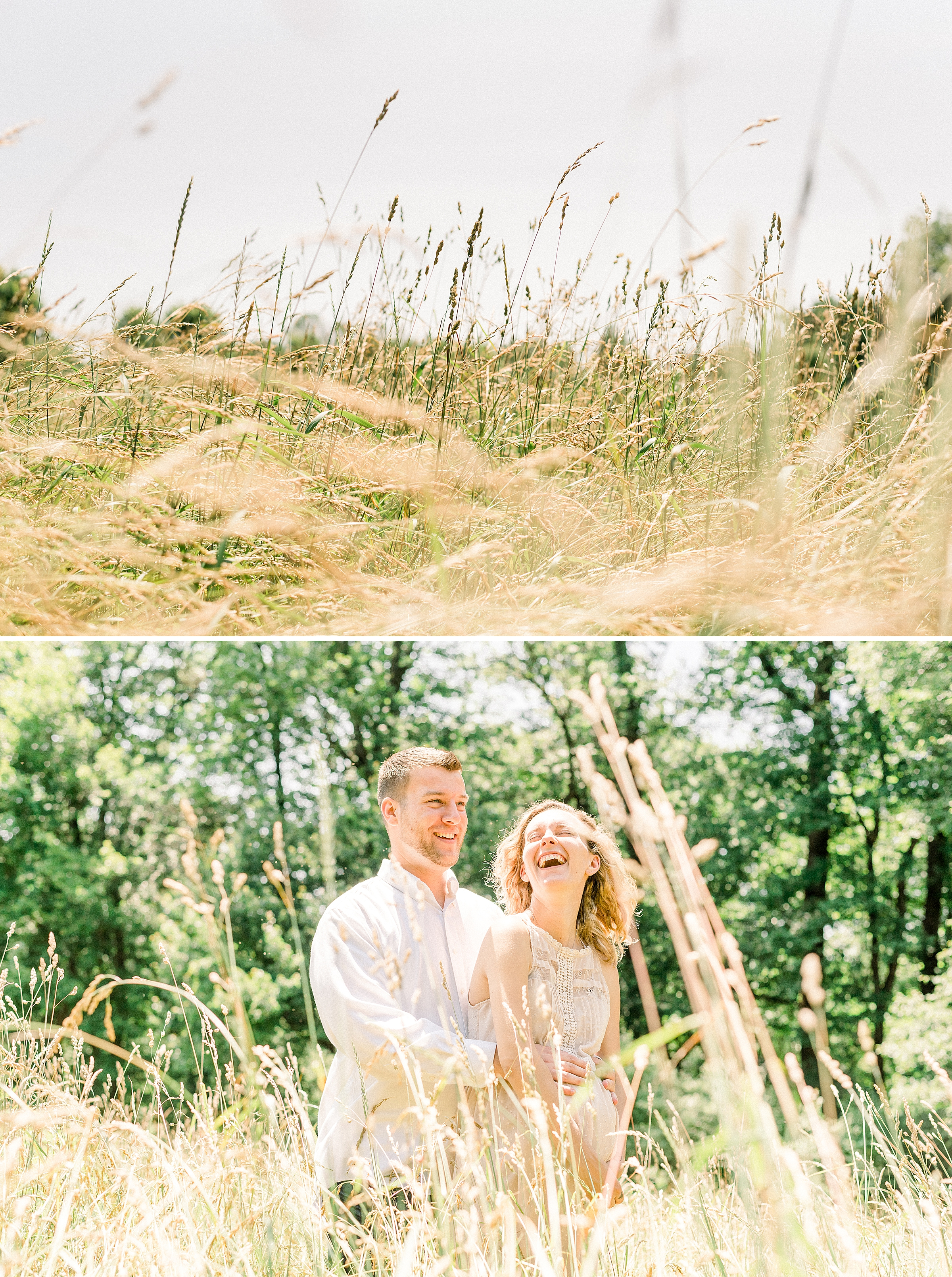 Laughing couple in tall grass