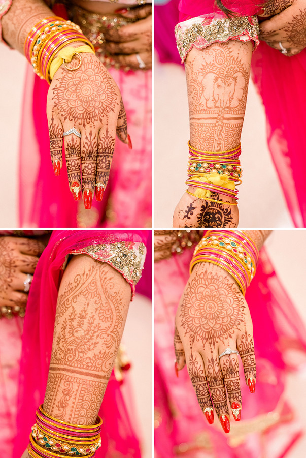 Mendi on a bride at a Sangeet ceremony in New York