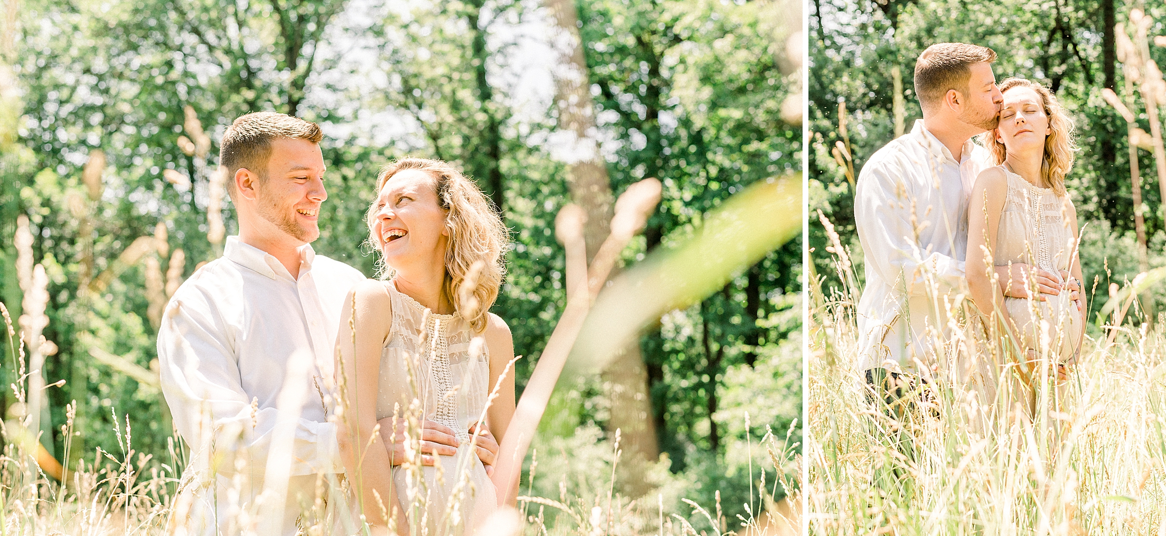 Laughing couple in a tall grass field during a maternity shoot