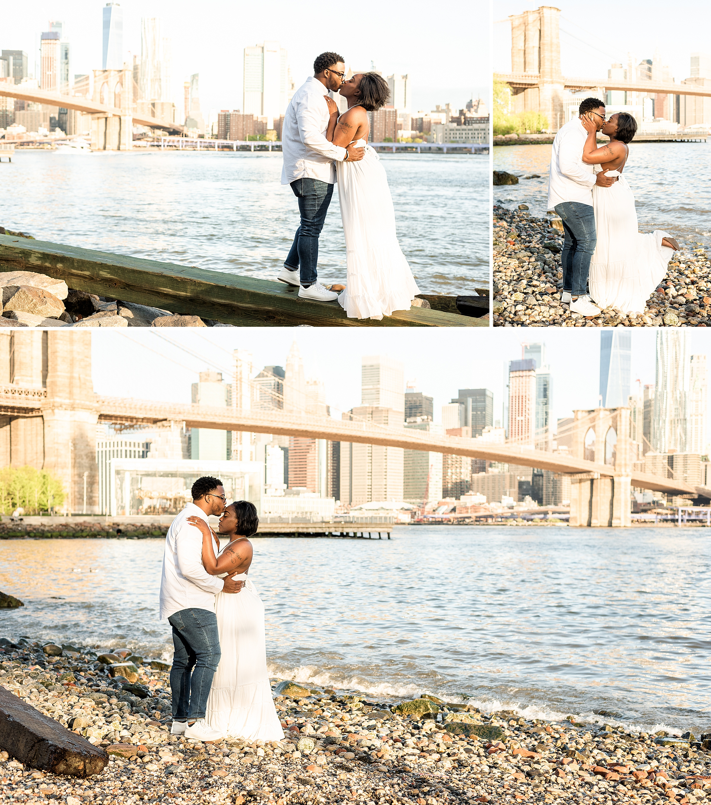 Couple kissing at Pebble Beach in DUMBO