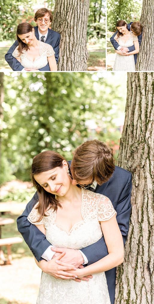 Husband and wife kissing in Cranford NJ