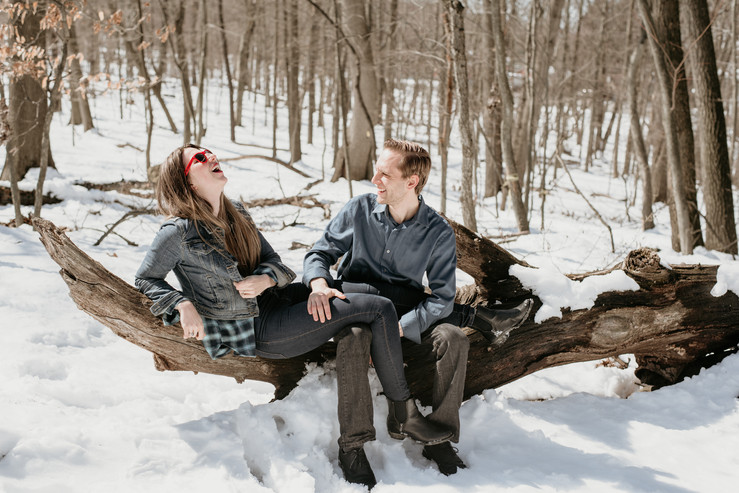 Couple celebrating their anniversary in the woods