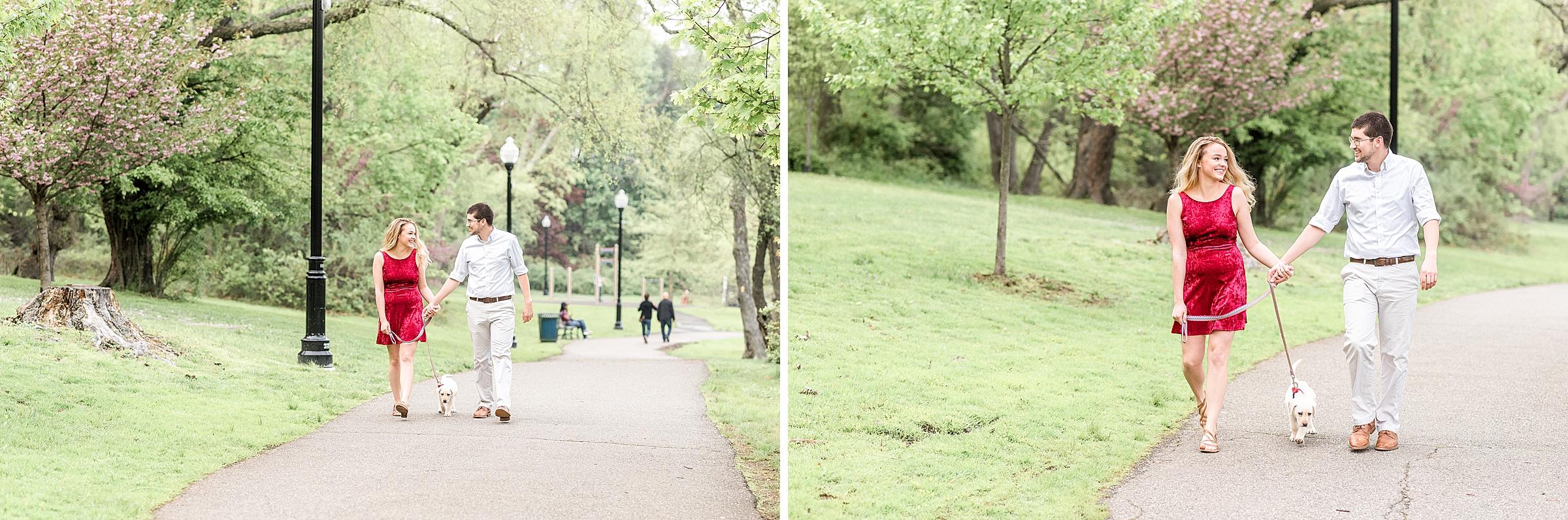 Couple walking their dog in Verona, NJ