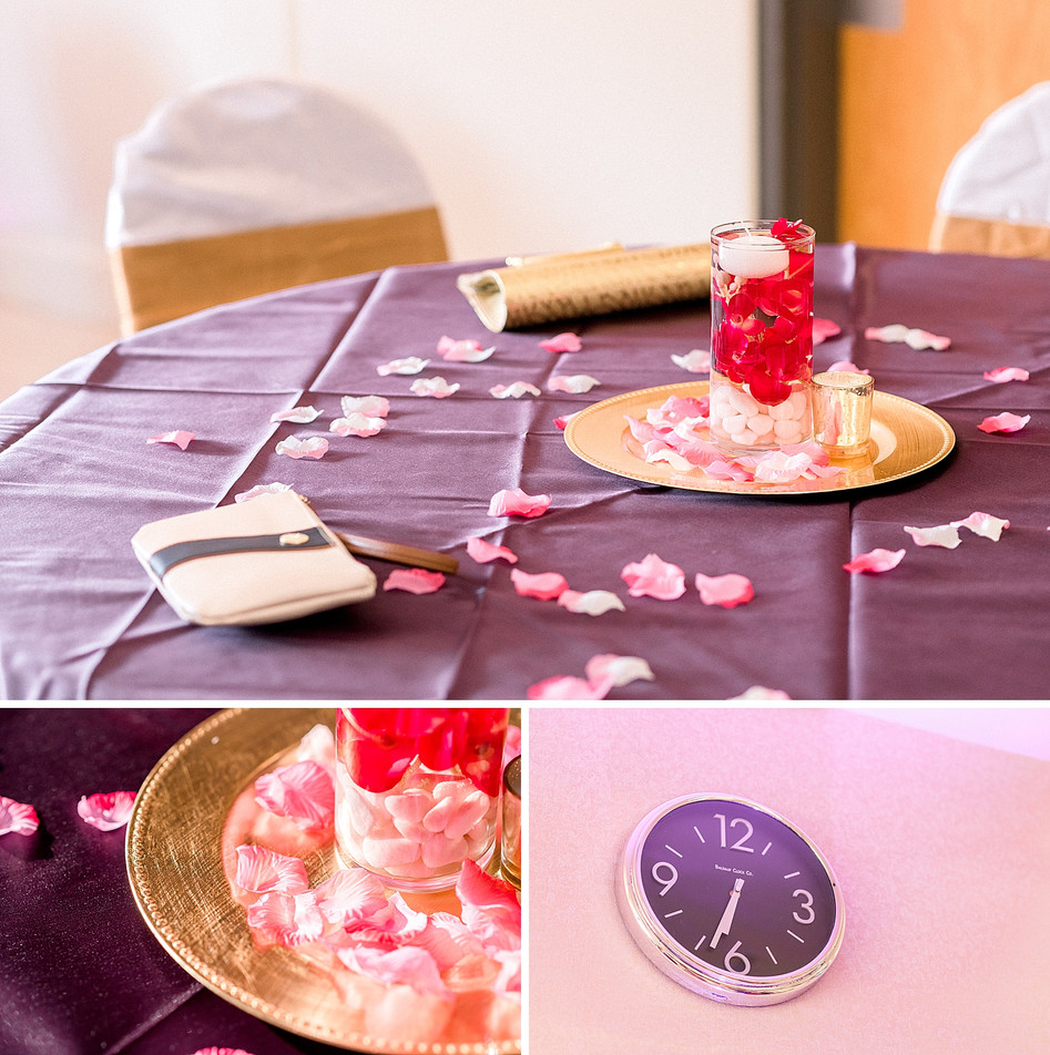 Floral centerpieces on purple tablecloths by Event details by Mayuri's Floral Design