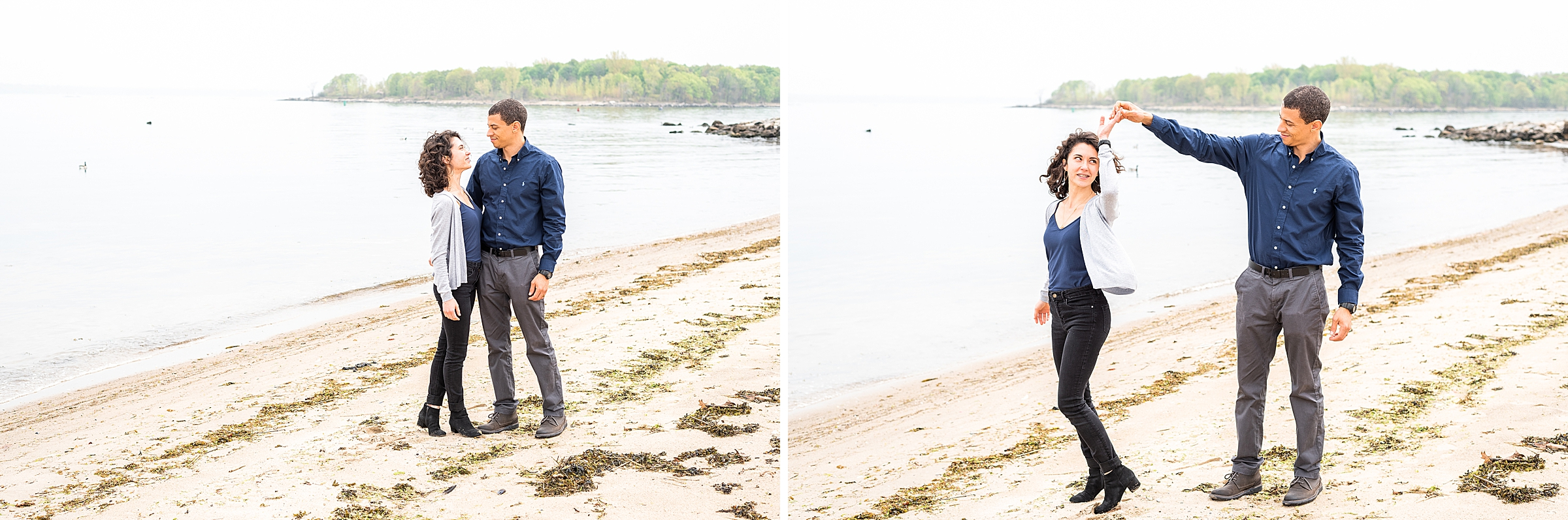 Husband and wife on the beach at New Rochelle, NY