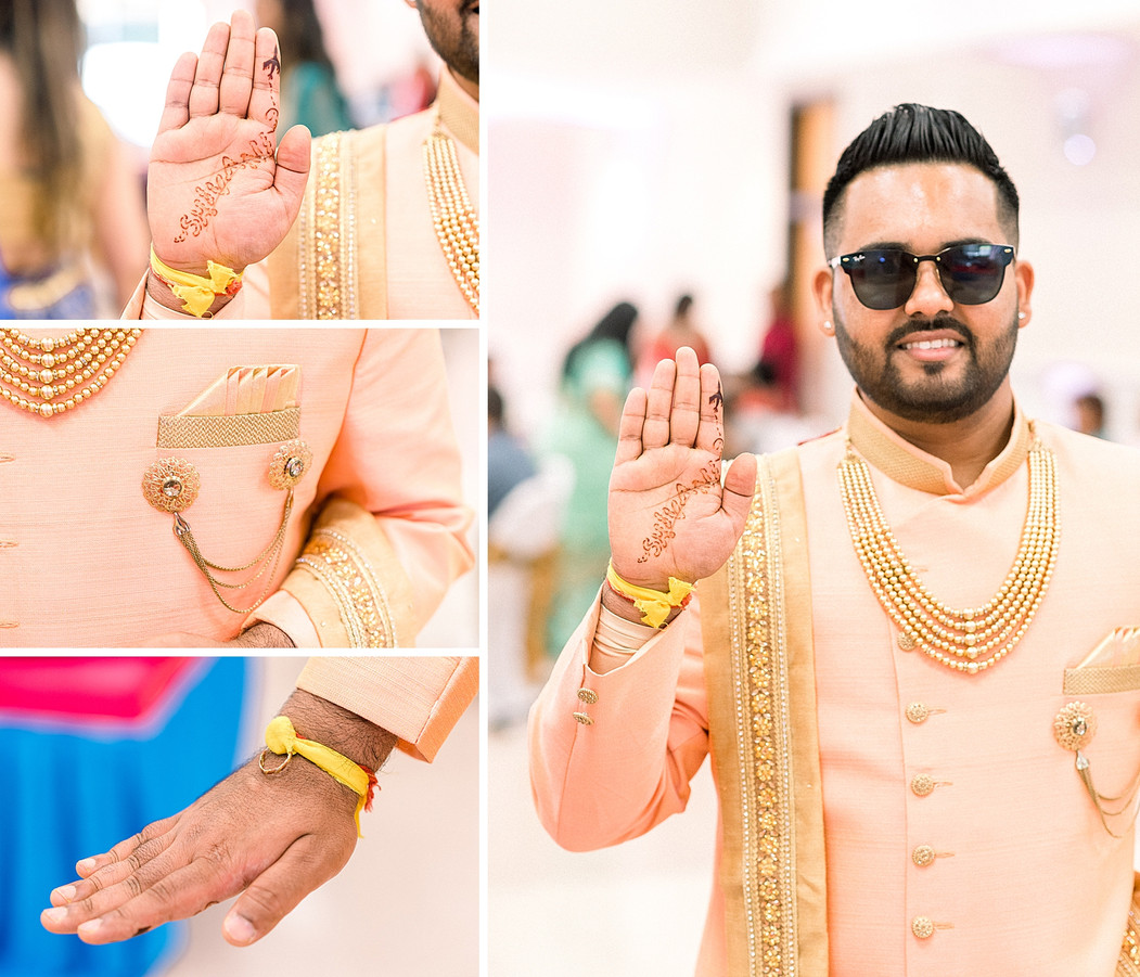 Mendi on a groom at a Sangeet ceremony in NY