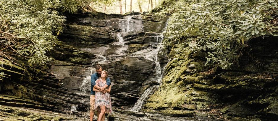 Slateford Creek Waterfall Couple's Session in Bangor, PA | Alaina & Joe