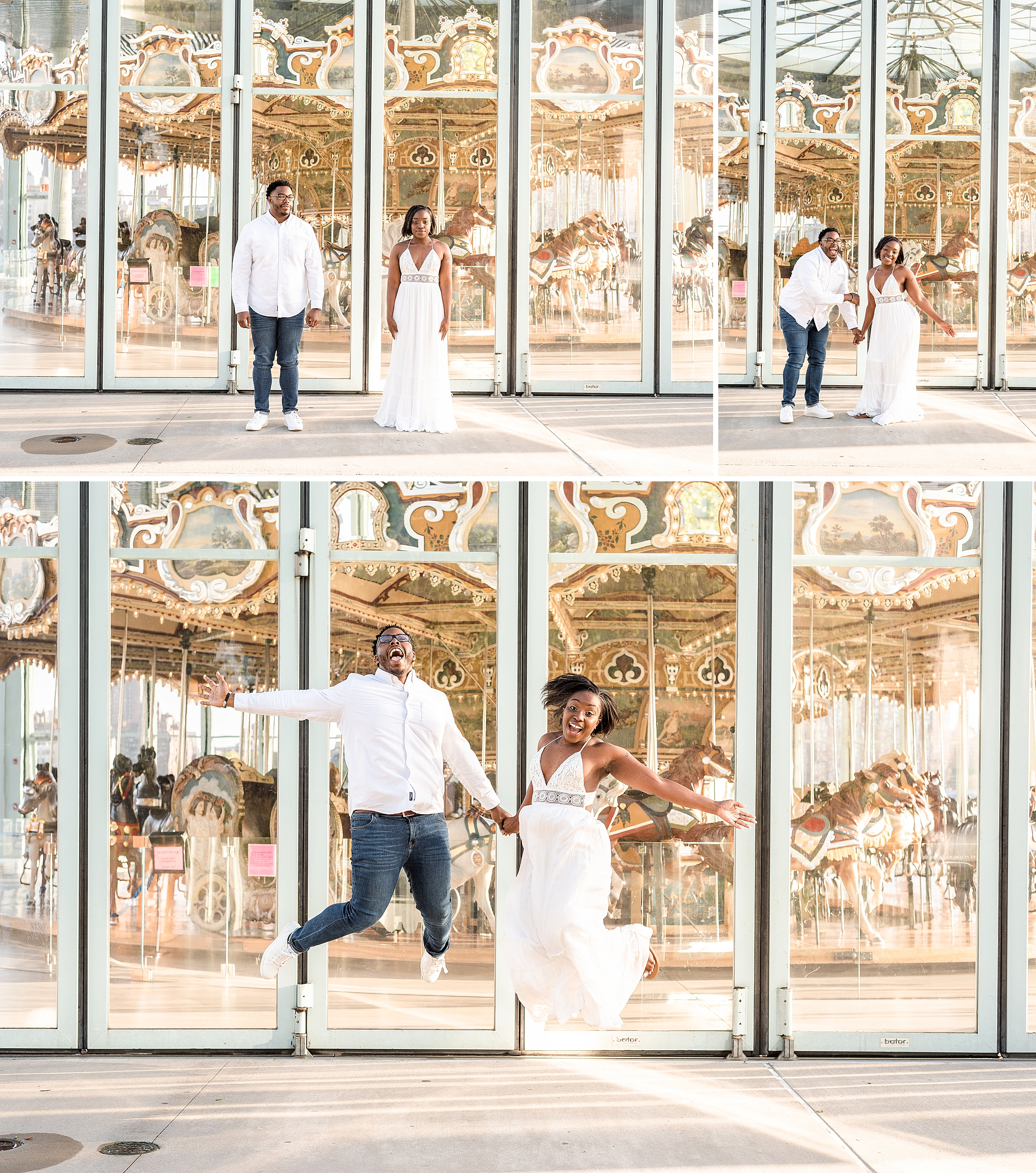 Couple laughing and jumping at Jane's Carousel in DUMBO Brooklyn NYC