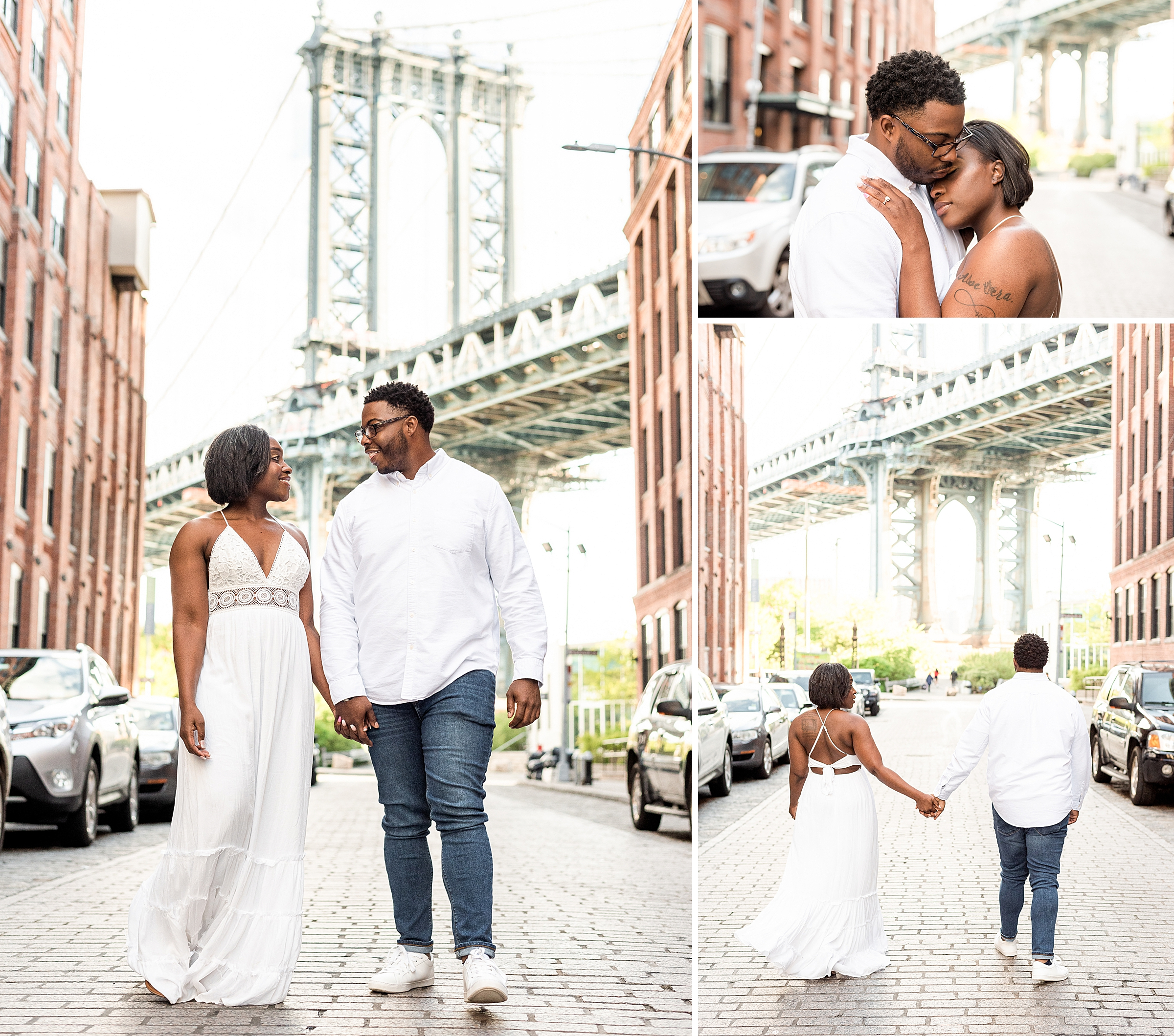 Couple holding hands and walking in DUMBO