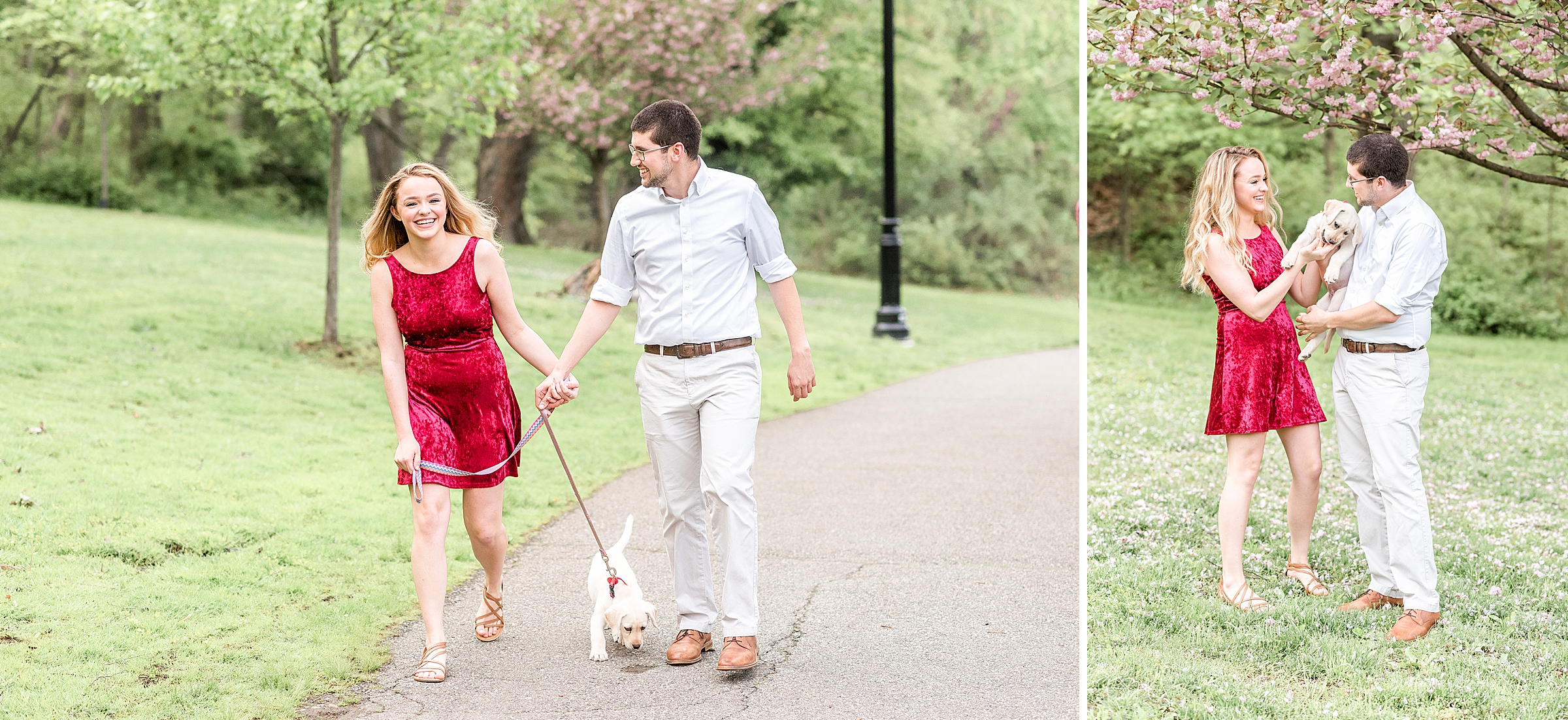 Couple walking their dog in Verona Park in NJ