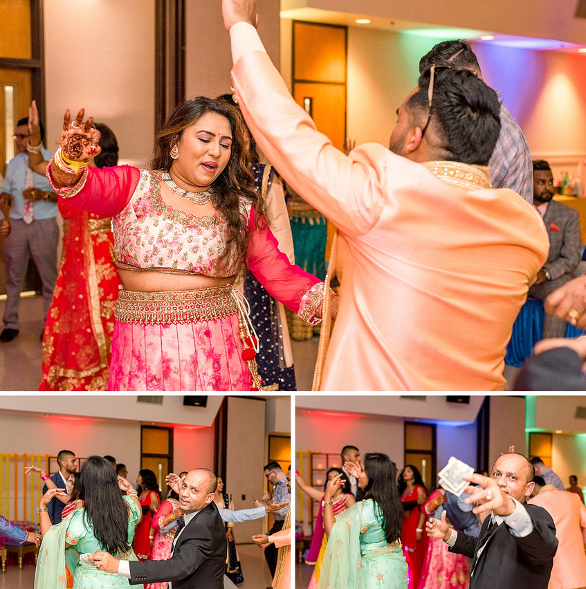 Throwing money and dancing at an Indian party in Scotchtown, NY