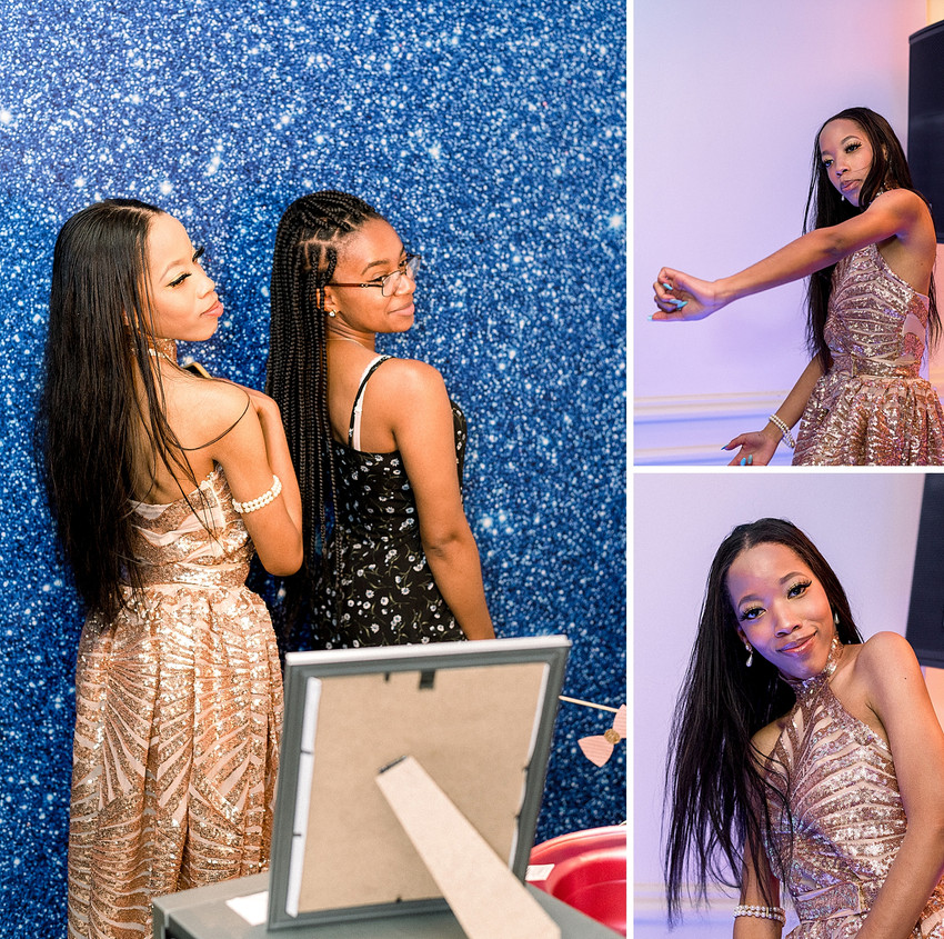 Girls posing at a photobooth in Yonkers NY