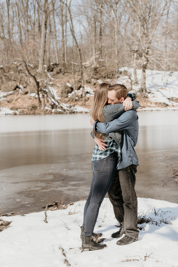 Hugging couple in Clifton, New Jersey