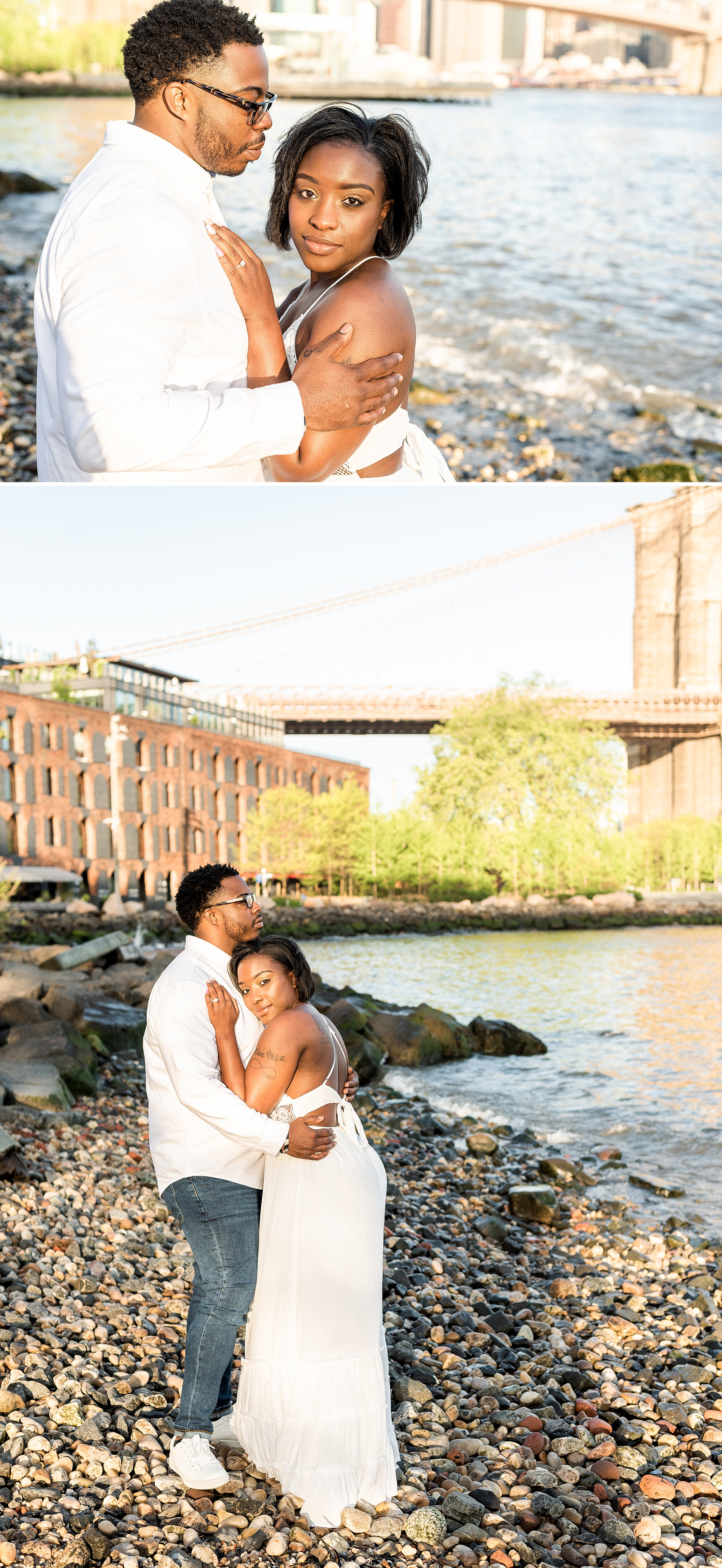 Happily engaged couple at Pebble Beach in DUMBO Brooklyn NYC