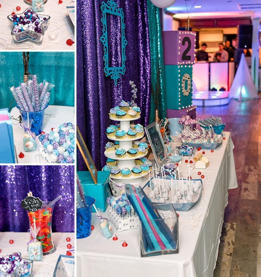 Sweets table details, chocolate pretzels, swedish fish