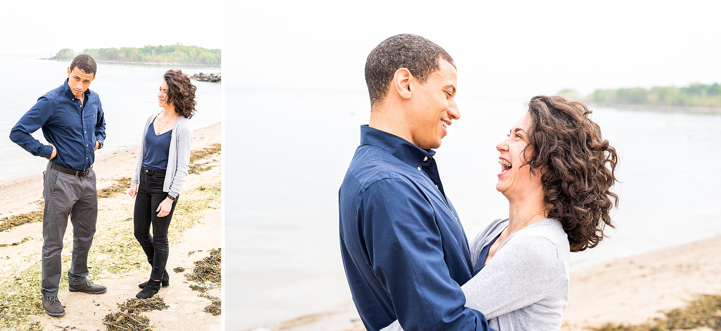 Couple laughing on the beach