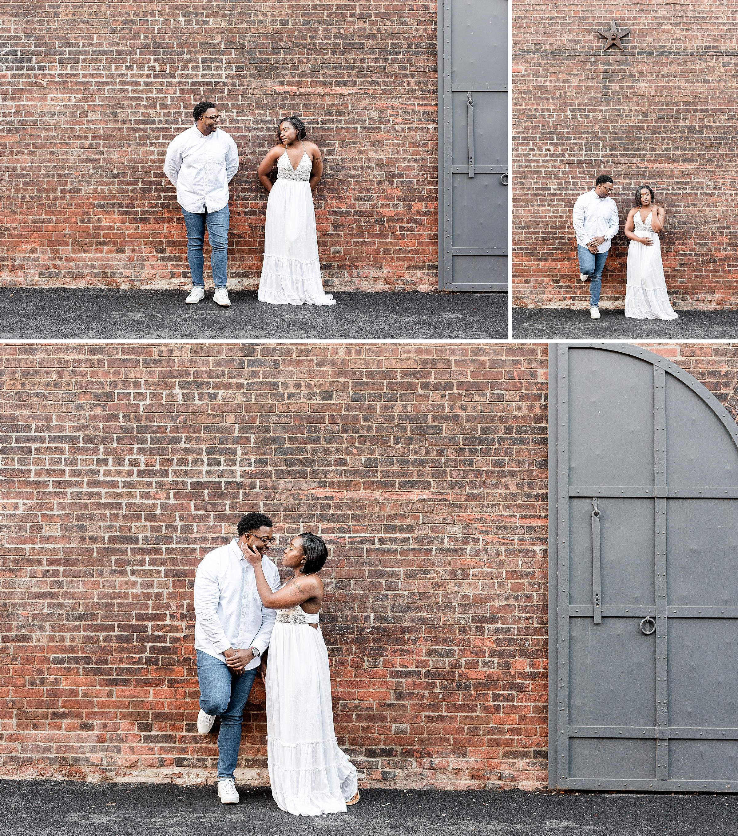 Couple standing side by side against a brick wall during a proposal shoot in DUMBO Brooklyn NYC