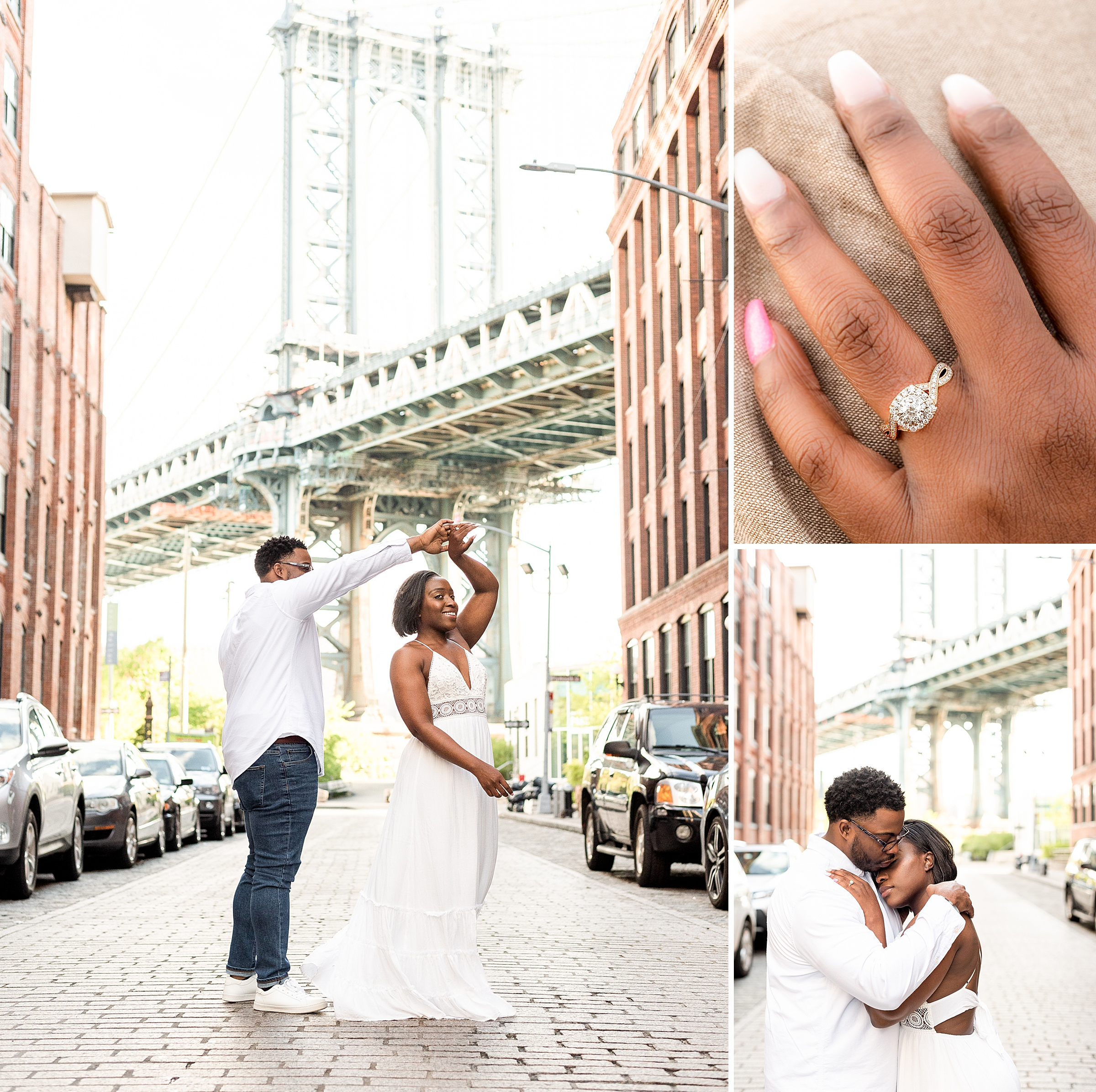 Man twirling his fiance in DUMBO Brooklyn New York City