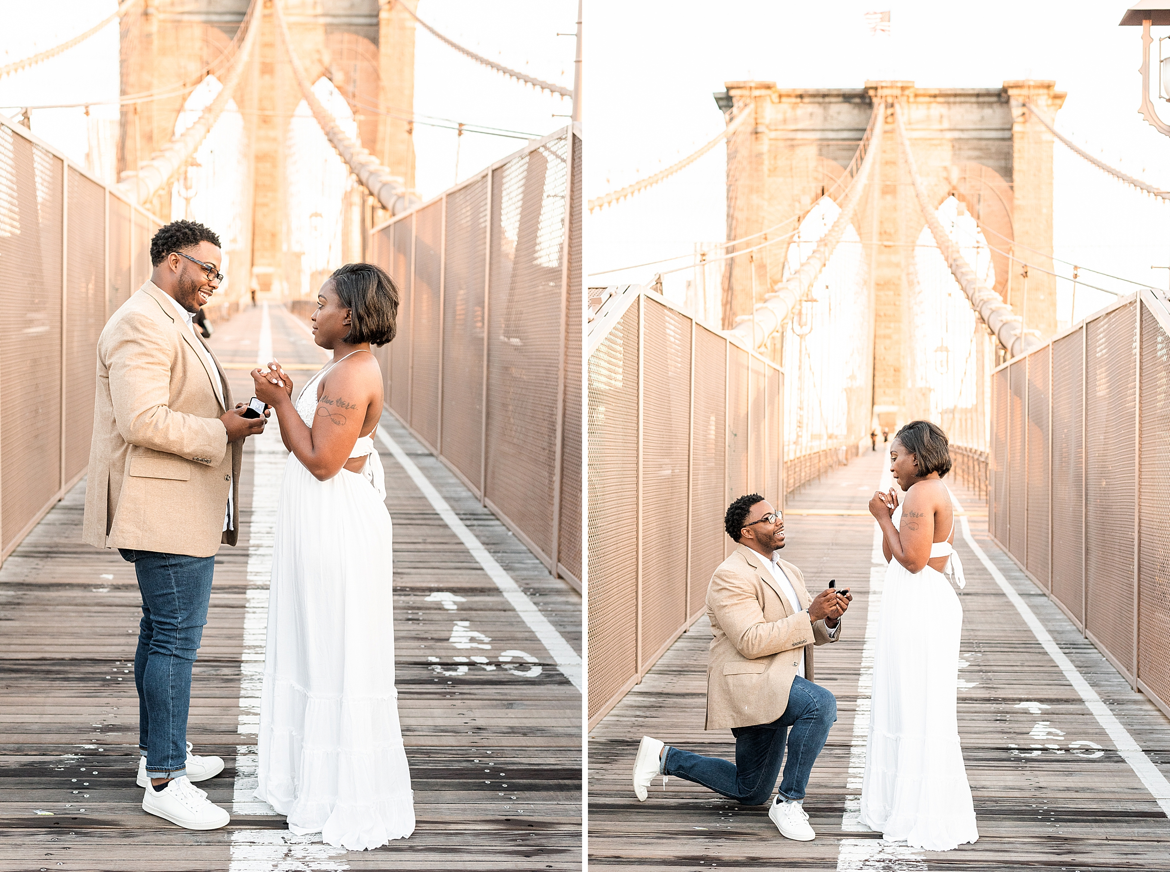 Man kneeling down to propose to his girlfriend on the Brooklyn Bridge during sunrise