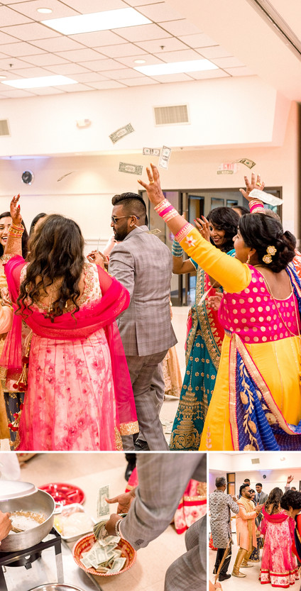 Throwing money on a couple at an Indian Sangeet cermony