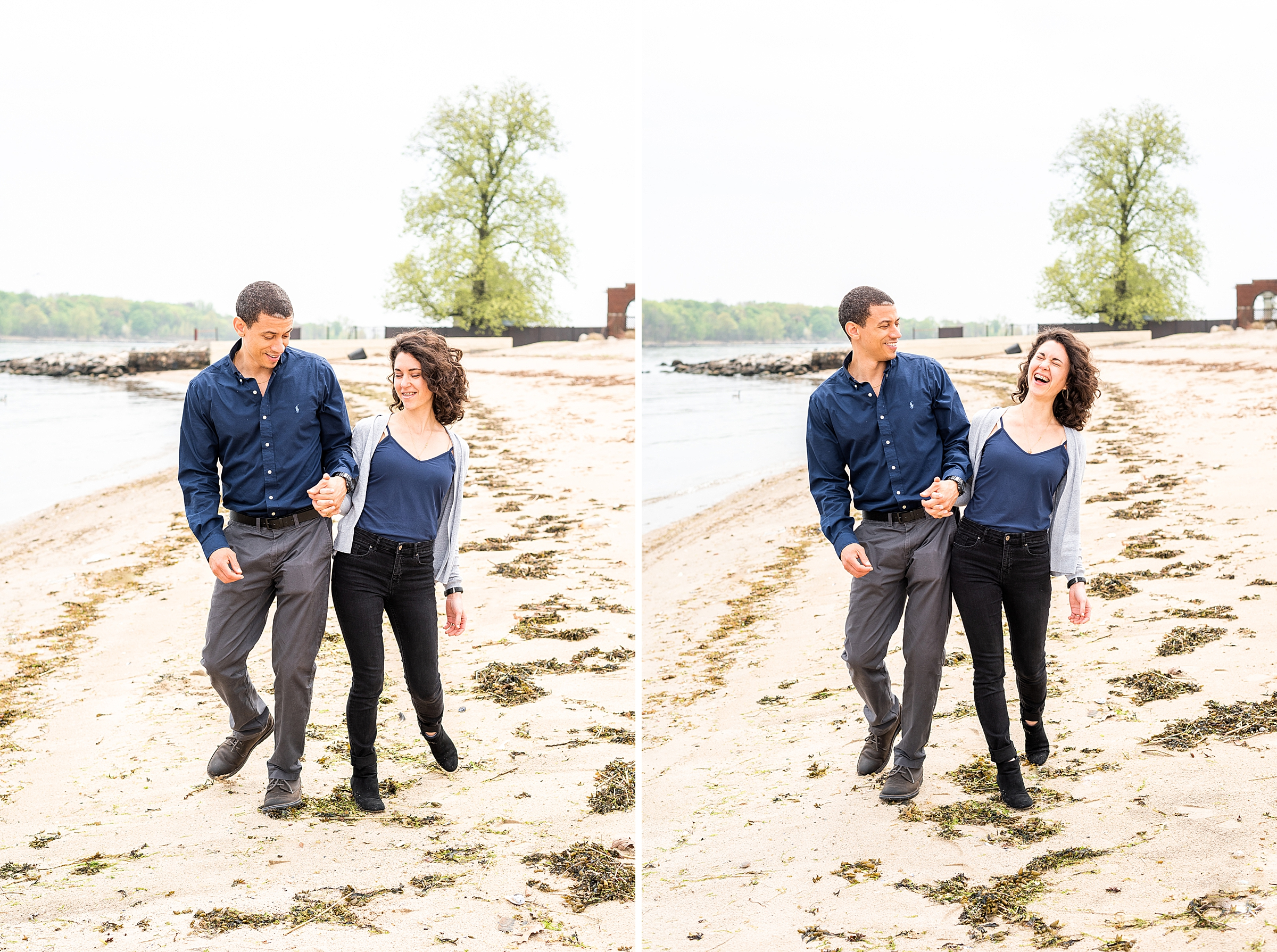 Husband and wife having fund together and laughing on the beach in New Rochelle, NY