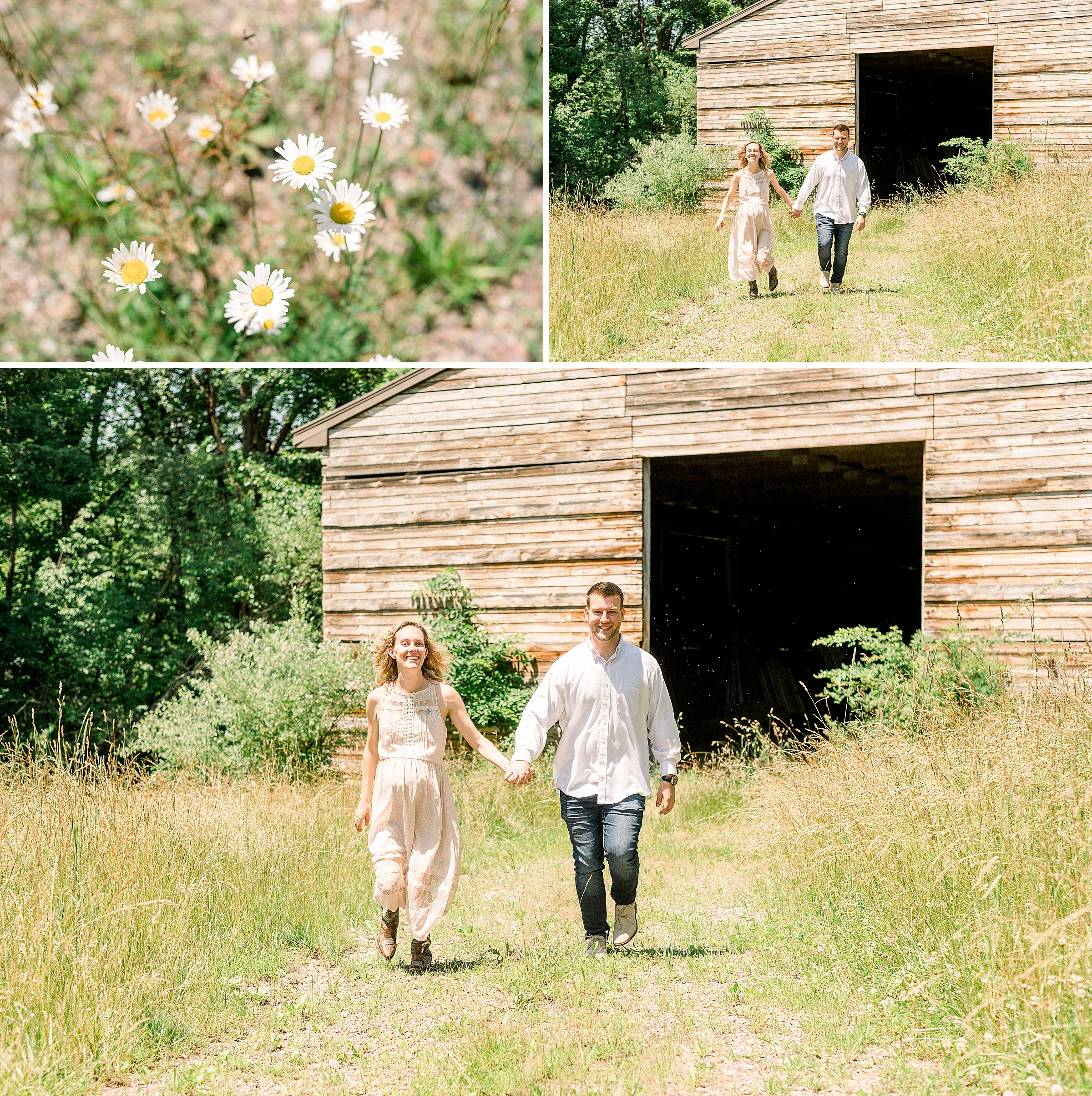 Couple running through a field in Alexandria, New Jersey