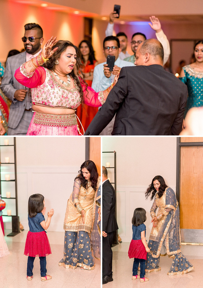 Mother and daugher dancing on the dance floor at a Sangeet in New York