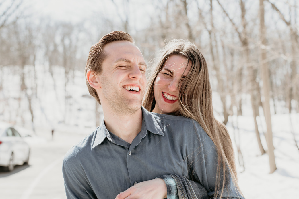 Couple laughing in Clifton, NJ