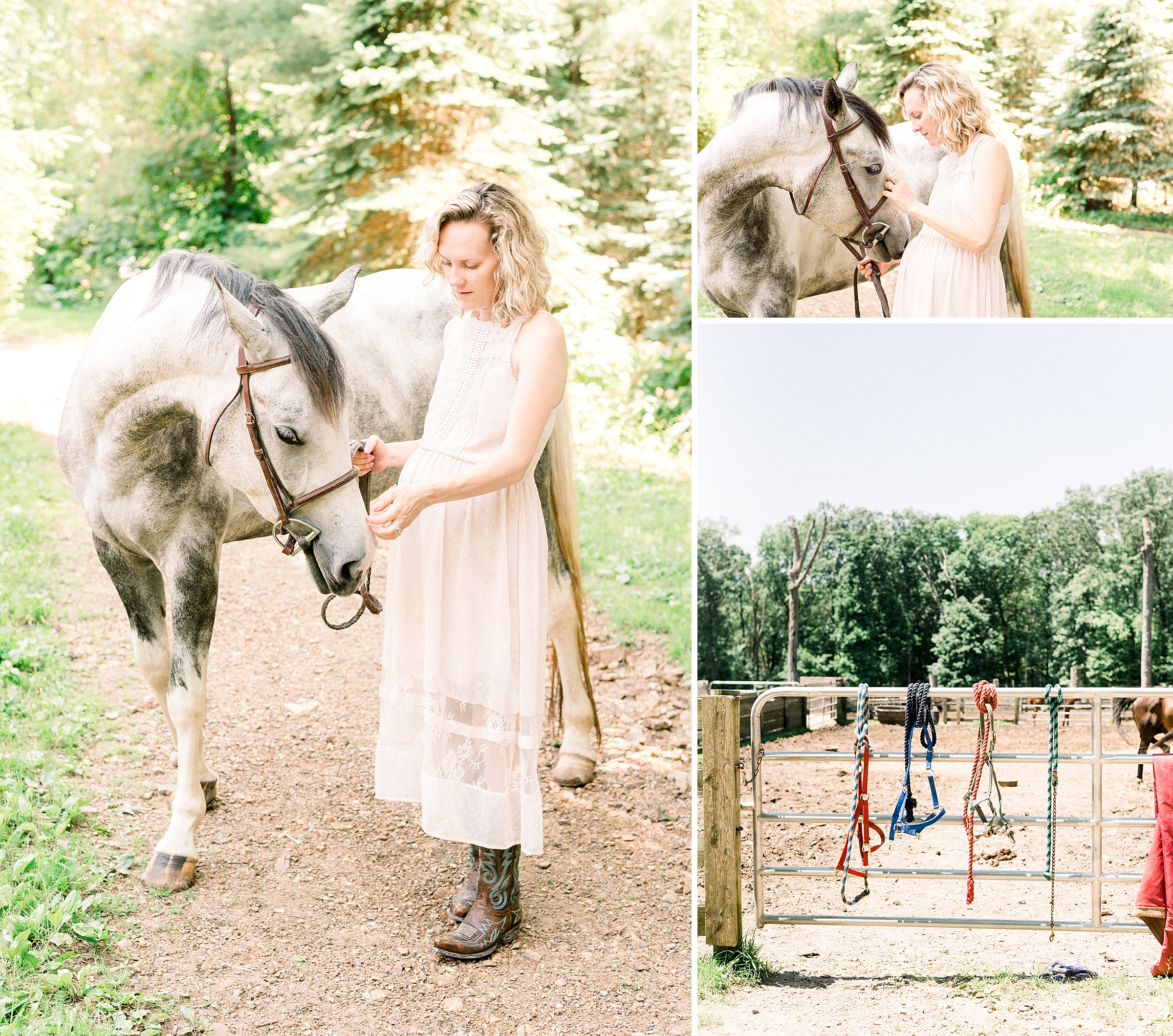 Pregnant woman with her horse at Phoenix Rising Farm