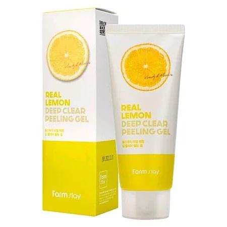 FarmStay Real Lemon Deep Clear Peeling Gel Пилинг-скатка для лица