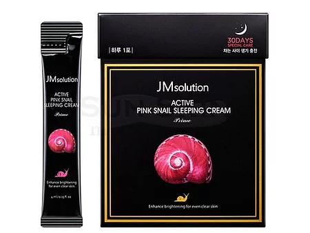 JMsolution Active Pink Snail Sleeping Cream Prime Ночная маска с муцином улитки