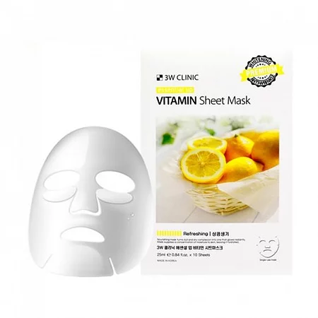 3W Clinic Essential Up Vitamin Sheet Mask Тканевая маска витаминная