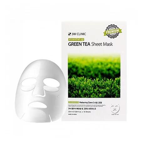 3W Clinic Fresh Green Tea Mask Sheet Тканевая маска