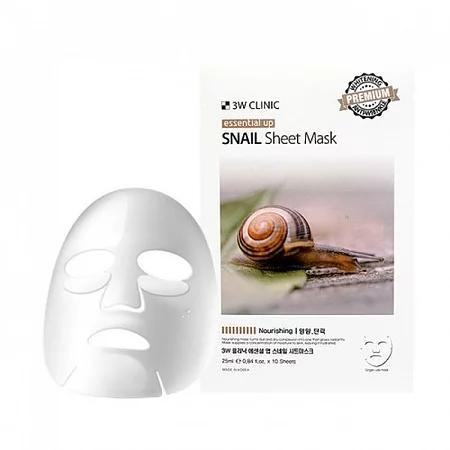 3W Clinic Essential Up Snail Sheet Mask Тканевая маска для лица с муцином улитки