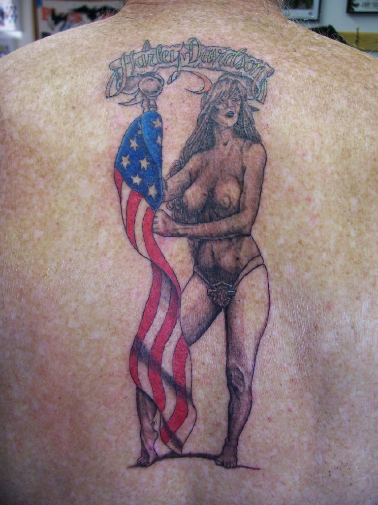 harley chick with flag.jpg