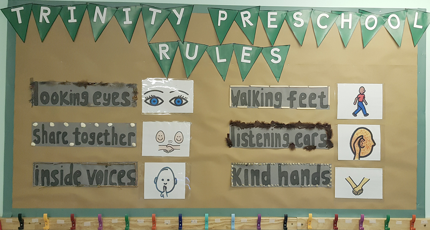 Trinity Pre School our rules board