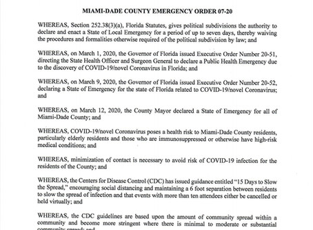 Miami-Dade County Issues Emergency Order 07-20