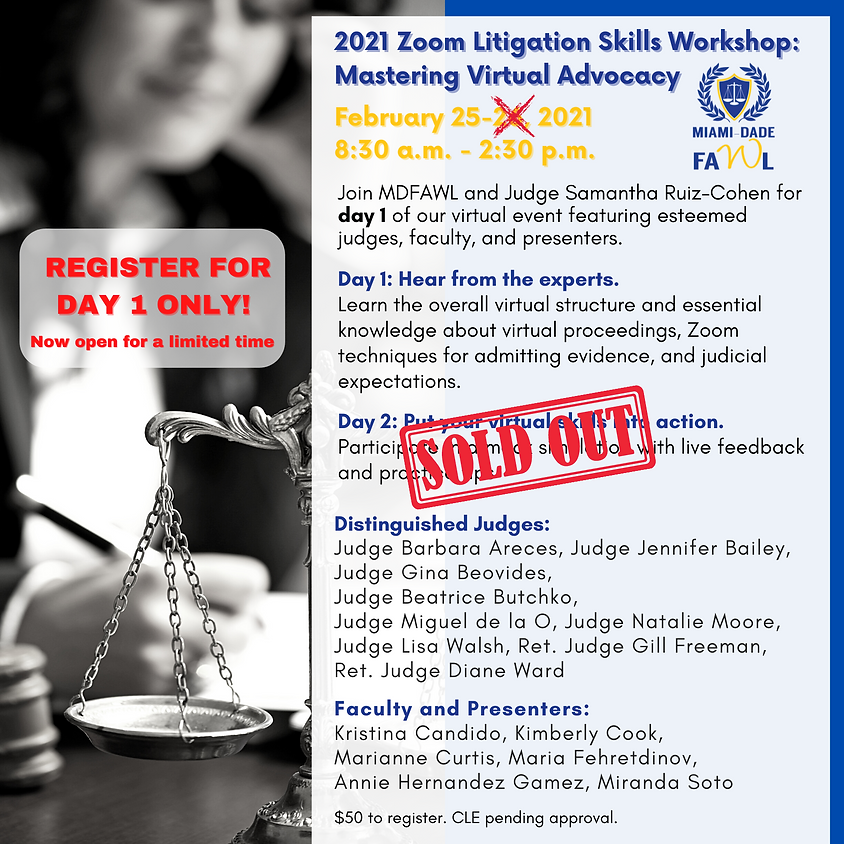 Zoom Litigation Skills Workshop (Day One Only). Hear from the Experts!